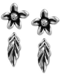 The Sak | Black Duo Silver-tone Flower & Leaf Stud Earring Set | Lyst