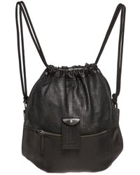 DIESEL | Black Leather Drawstring Backpack for Men | Lyst