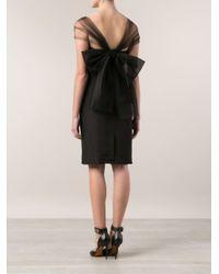 Oscar de la Renta Black Pencil Dress With Tulle Bow