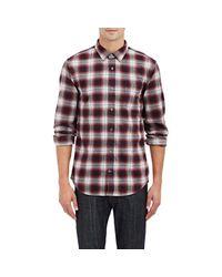 Vince Red Plaid Cotton-flannel Shirt for men