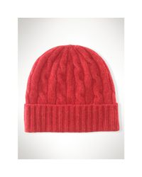Polo Ralph Lauren | Red Cable-knit Cashmere Hat | Lyst