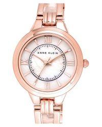 Anne Klein - Pink Round Open Bangle Watch - Lyst
