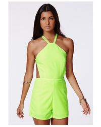 Missguided - Green Pilarica Neon Strappy Playsuit - Lyst