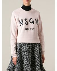 MSGM - Pink Logo Print Sweater - Lyst