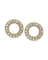 kate spade new york | Metallic New York Goldtone Pavé Crystal Open Circle Stud Earrings | Lyst