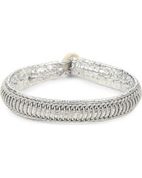 Maria Rudman | Metallic Pewter Woven Track Thread Bracelet | Lyst