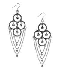 Lucky Brand - Metallic Modern Shine Chain And Pave Chandelier Earrings - Lyst