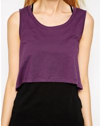 Earth Couture Purple Cropped Sleeveless Top With Back Slit