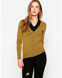 Vero Moda - Yellow V Neck Button Front Cardigan - Lyst