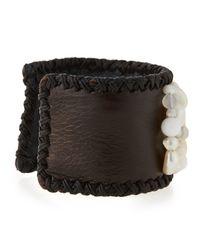 Nakamol White Freshwater Pearl & Leather Cuff Bracelet