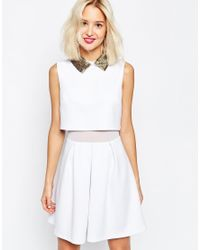 ASOS | White Embellished Beaded Collar Skater Dress | Lyst