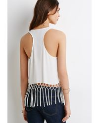 Forever 21 - White Lattice Fringe Racerback Tank - Lyst