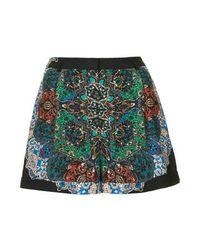 TOPSHOP Multicolor Womens Folk Print Shorts Navy Blue