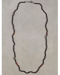John Varvatos Black Onyx and Turquoise Beaded Necklace for men