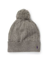 Polo Ralph Lauren | Gray Cabled Wool-cashmere Hat | Lyst