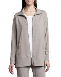 Eileen Fisher | Gray Organic Cotton Zip Jacket | Lyst