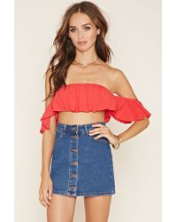 Forever 21 | Red Off-the-shoulder Crepe Crop Top | Lyst