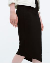 Zara | Black Asymmetric Skirt | Lyst