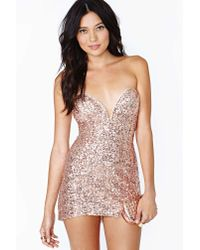nasty gal helix dress rose gold sequin in pink  lyst