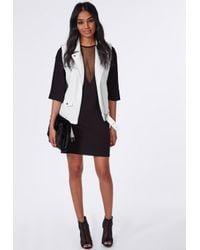 Missguided Mesh V Insert Oversized T-shirt Dress Black