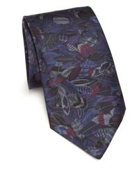 Ferragamo - Gray Plume Silk Tie for Men - Lyst