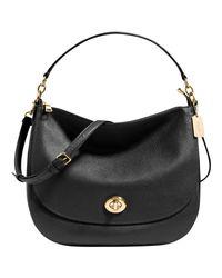 COACH Black Turnlock Leather Hobo Bag