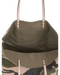 Valentino Green Camouflage Patchwork Tote Bag