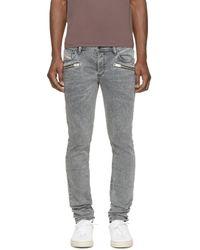 DIESEL | Gray Grey Sleenker_zip L.32 Jeans for Men | Lyst