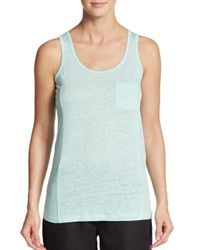 Saks Fifth Avenue - Green Heathered Pocket Tank Top - Lyst