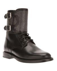 Saint Laurent Black Studded 'patti' Ankle Boot