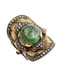 Amrapali - Green Diamond And Tourmaline Antique Gold Ring - Lyst