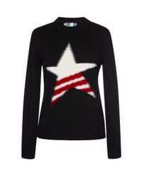 MSGM | Black Fuzzy Star Sweater | Lyst