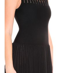 Alaïa - Black Lace Panelled Dress - Lyst