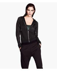 H&M - Black Mesh Hooded Jacket - Lyst
