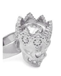 Alexander McQueen Metallic King Skull Ring