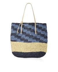 BCBGMAXAZRIA Blue North-South Space-Dyed Straw Tote