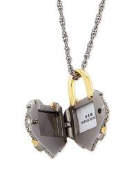 Alexis Bittar Metallic Crystal Padlock Locket Necklace