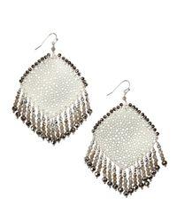 Nakamol | Metallic Cutout Rhombus Fringe Beaded Earrings | Lyst