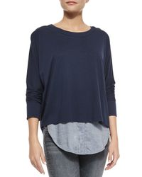 VINCE | Blue Long-sleeve Mixed Media Top | Lyst