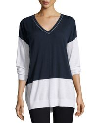 Vince - Blue Colorblock V-neck Long-sleeve Top - Lyst