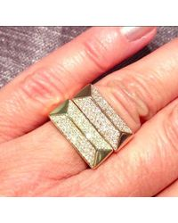 Anne Sisteron | Pink 14kt Rose Gold Diamond Pyramid Bar Ring | Lyst