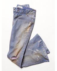 Free People - Blue Destroyed 5 Pocket Flare - Lyst