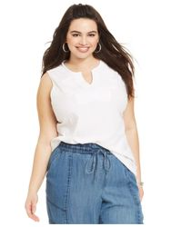 Lucky Brand | White Lucky Brand Plus Size Sleeveless Embroidered Top | Lyst