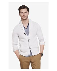Express | White Mixed Stitch Shawl Collar Toggle Cardigan for Men | Lyst