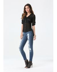 Bebe Black Mesh Front Button Shirt