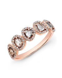 Anne Sisteron | Pink 14kt Rose Gold Diamond Slice Princess Ring | Lyst
