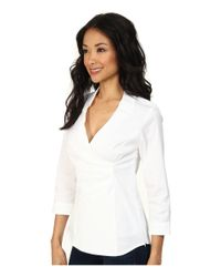 NYDJ - White Fit Solution Wrap Blouse - Lyst