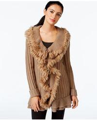Alfani Brown Faux-fur Ruffled Cardigan, Only At Macy's