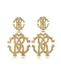 Roberto Cavalli Metallic Rc Lux Signature Earrings W/Crystal