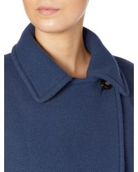 Max Mara Blue Taglio Long Sleeved Belted Coat
